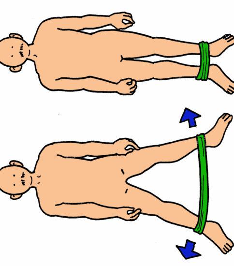 股関節外転筋群の筋力強化(背臥位・ゴムバンド)