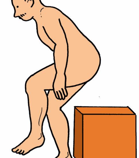 片脚立ちの立ち上がり運動(ロコモ度チェック)