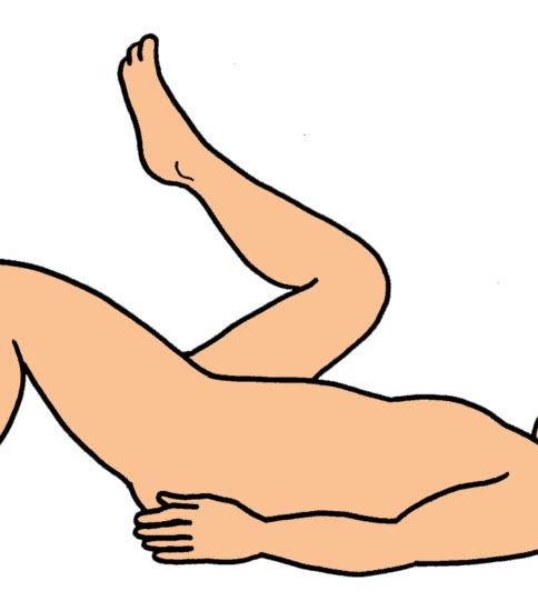 胸引き寄せ膝屈伸運動