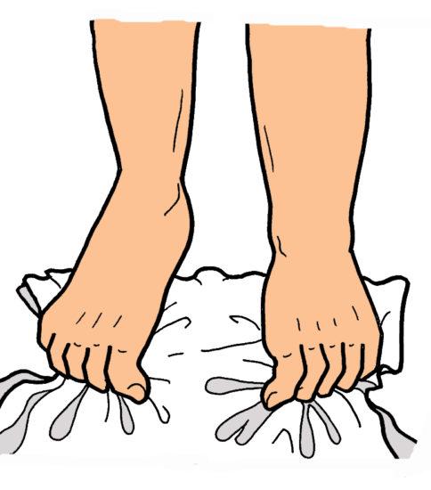 タオルギャザー(足趾の運動)
