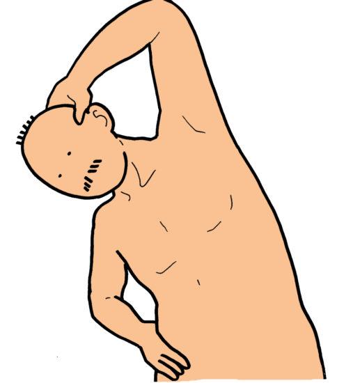 呼吸筋のストレッチその3(息を吐く体側のストレッチ)
