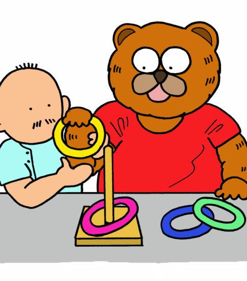 作業療法のイラスト(上肢機能訓練・輪投げ)