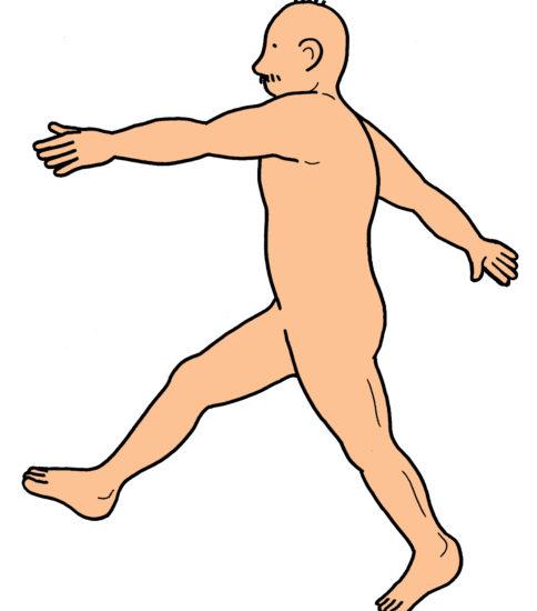 歩行のイラスト(パーキンソン病のリハビリ)