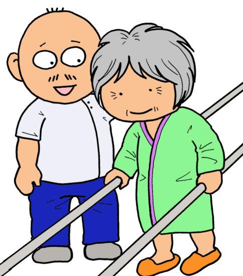 高齢者のリハビリ・イラスト(おばあちゃん編1)