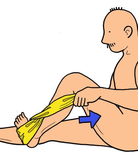 膝関節の屈曲可動域運動(タオル使用)