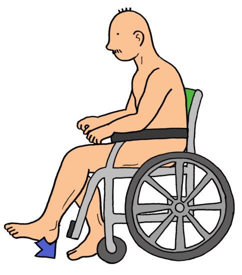車いすでの両下肢駆動訓練(イラスト)