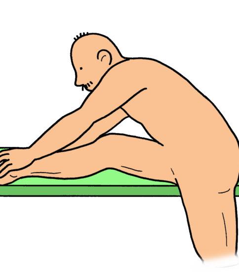 ハムストリングス のストレッチ(片脚を下ろして行う方法)