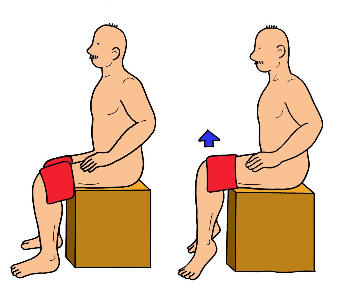 下腿三頭筋(特にヒラメ筋)のエクササイズ(座位)