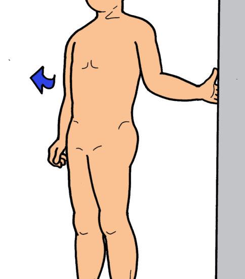 ドア枠を使用した肩関節外旋ストレッチ(内旋筋ストレッチ)