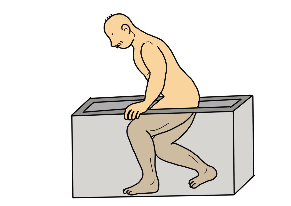 膝の屈曲可動域練習(お風呂でしゃがむ動作を利用)