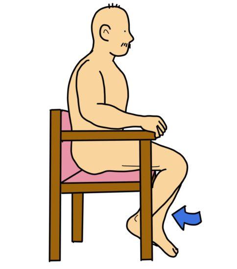 健側下肢を利用した膝屈曲可動域訓練