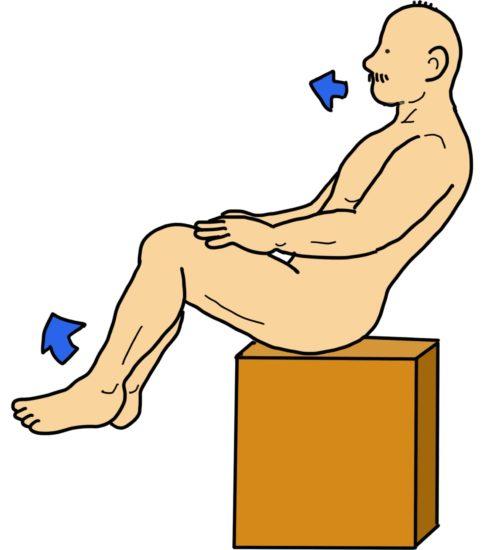 端座位での下肢挙上保持〜体幹エクササイズ(失調のリハ)