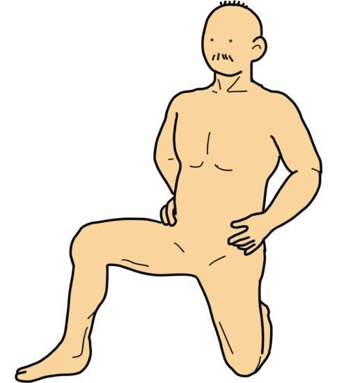 膝立ちから片膝立ちの運動(側方バージョン)