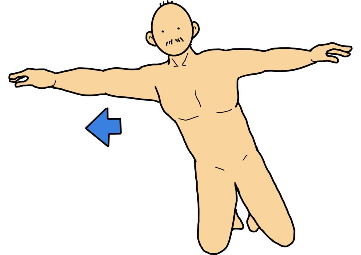 膝立ちバランス(横リーチ)