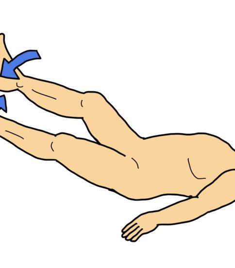両下肢挙上で内外転運動