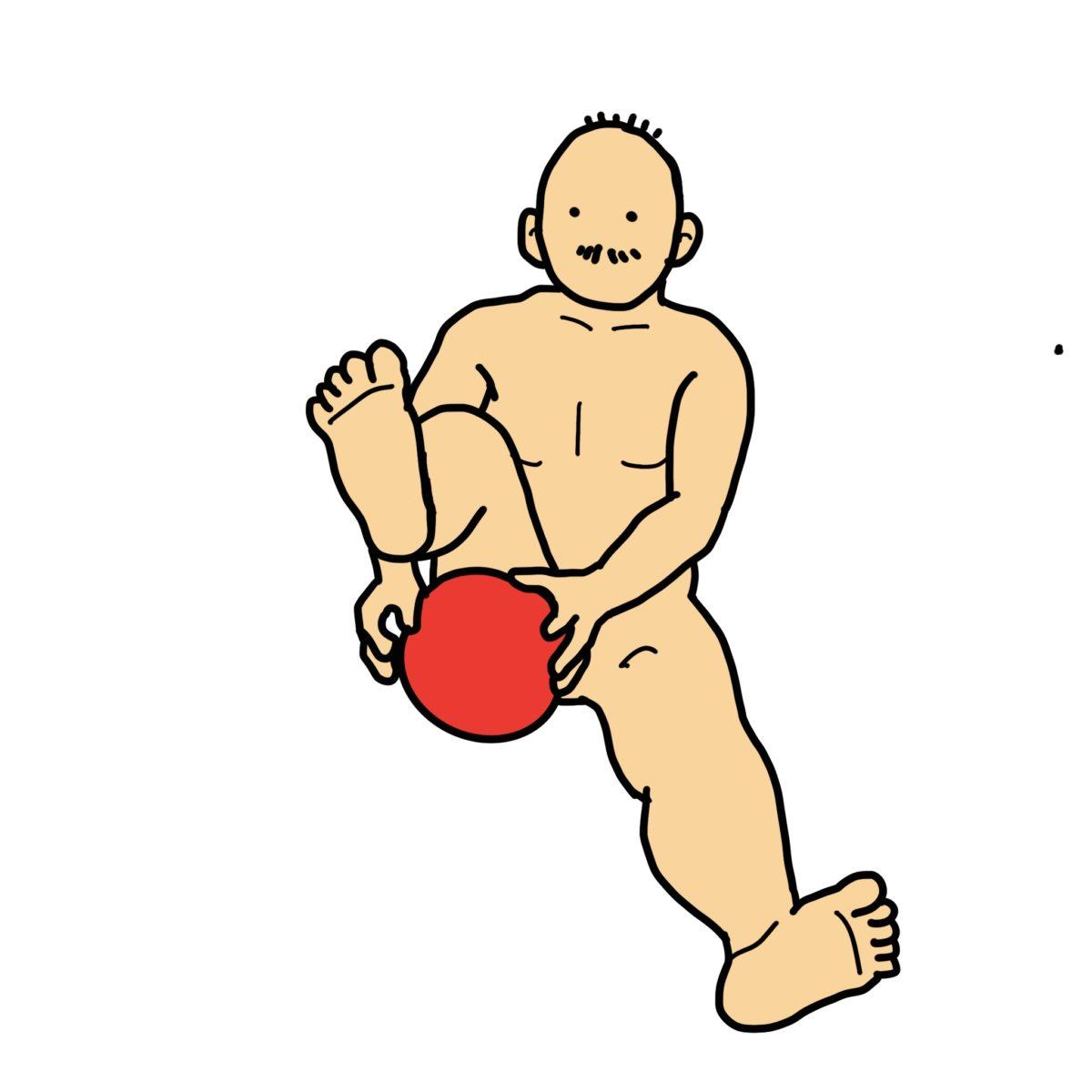 長座位バランス練習 その2 (脚の周囲をボールで8の字)