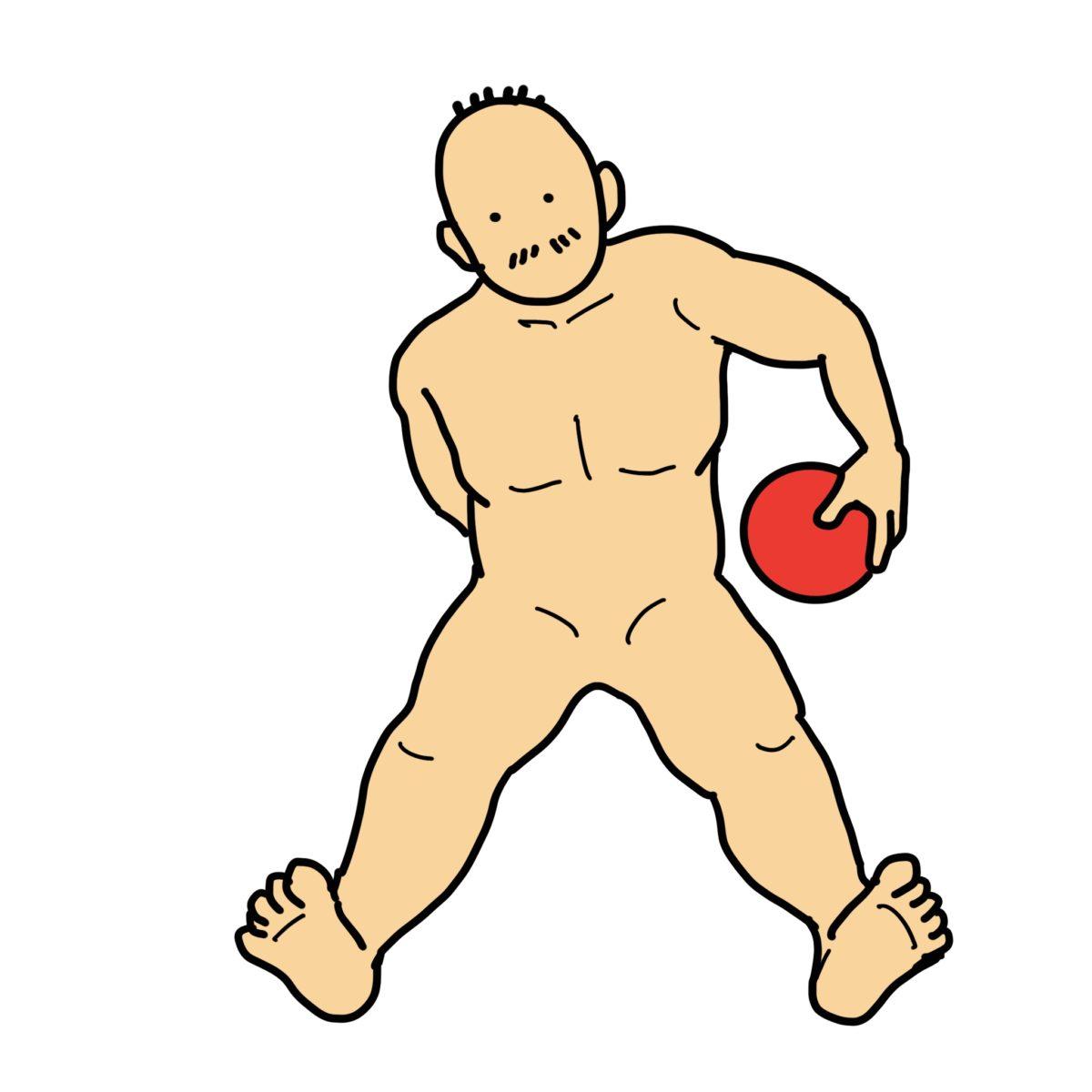 長座位バランス練習 その1(体幹周りをボールで1周)